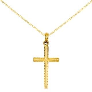 Versil 14 Karat Latin Cross Pendant with 18-inch Chain
