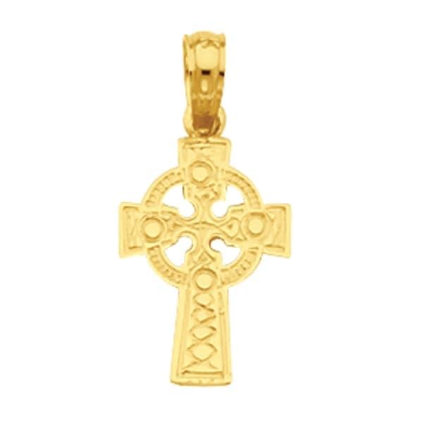 14k Yellow Gold Celtic Cross with Eternity Circle Charm Pendant