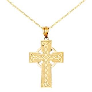Versil 14 Karat Irish Cross Pendant With 18 Inch Chain