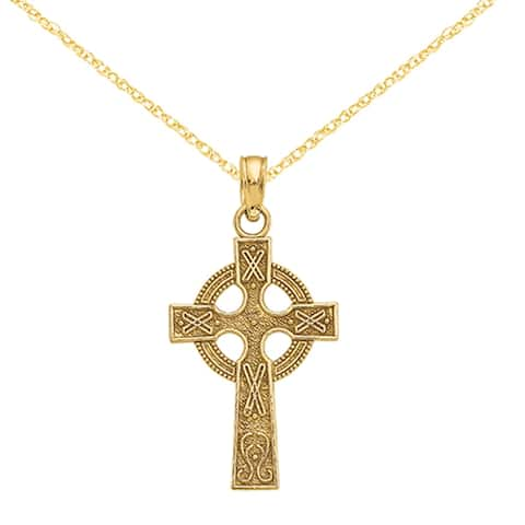 Versil 14 Karat Celtic Cross Pendant with 18-inch Chain