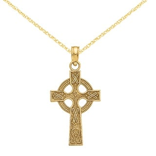 Versil 14 Karat Celtic Cross Pendant With 18 Inch Chain