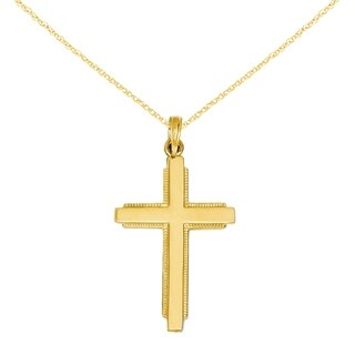 Versil 14 Karat Solid Cross Pendant with 18-inch Chain