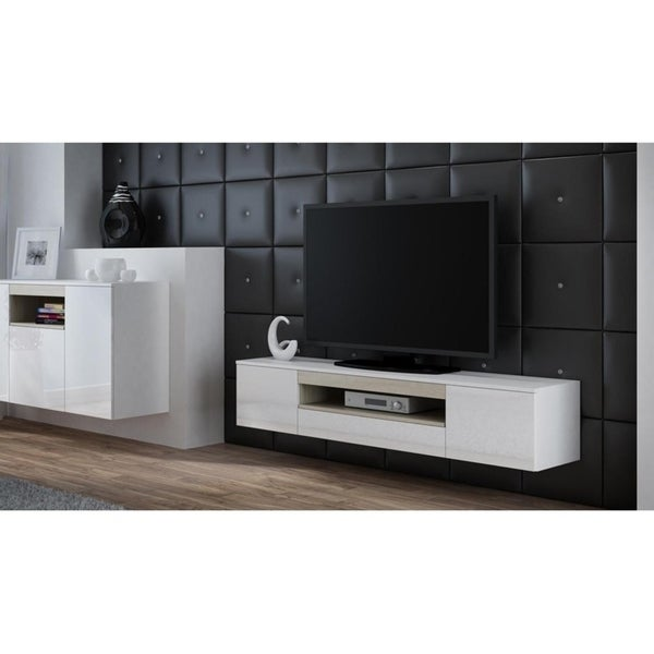 Shop Viva White Tv Stand With Storage Free Shipping Today