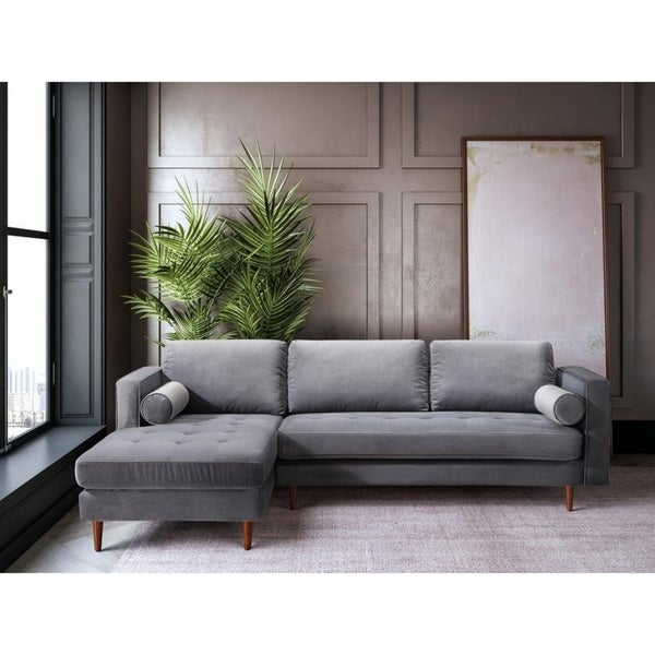 Shop Como Grey Velvet Handmade Tufted LAF Sectional Sofa