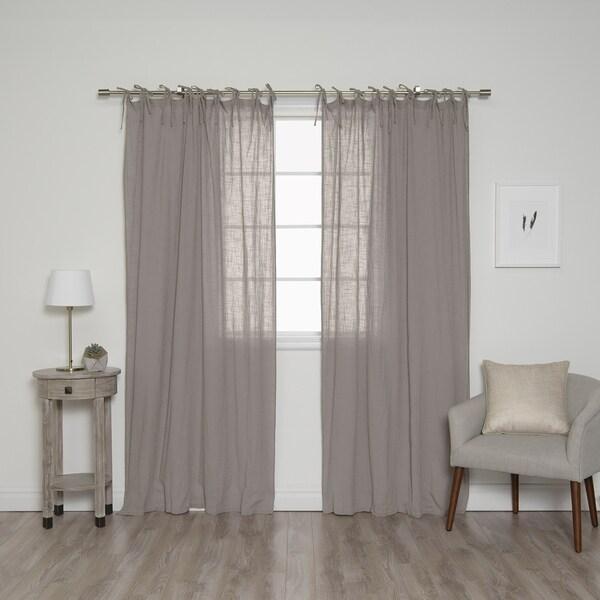 Shop Aurora Home Cotton Tie Top Curtain Panel Pair