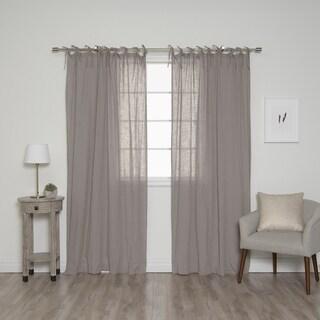 "Aurora Home Cotton Tie top Curtain Panel Pair - 52""W x 84""L"