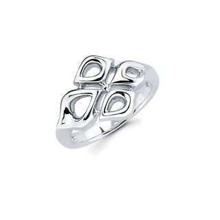 Sterling Silver Open Floral Design Fashion Ring (5 options available)