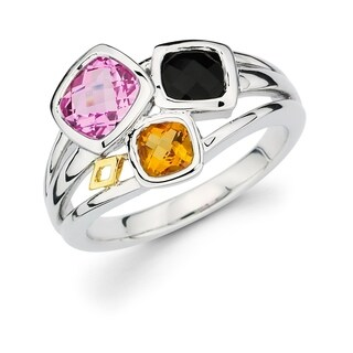 Sterling Silver with 18k Gold Accent Graduated Squares Pink Sapphire, Black Onyx, and Citrine Gemstone Ring