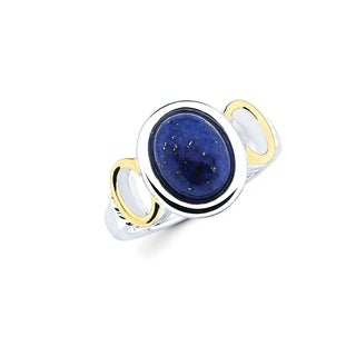 Sterling Silver with 18k Gold Accent Cobalt Blue Lapis Gemstone Ring