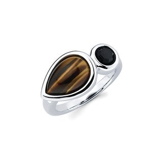 Sterling Silver Pear Tiger's Eye and Perfect Circle Onyx Gemstone Ring