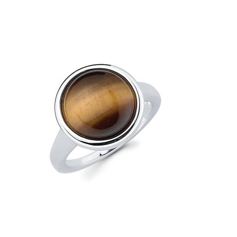 Sterling Silver Perfect Circle Tiger's Eye Gemstone Ring