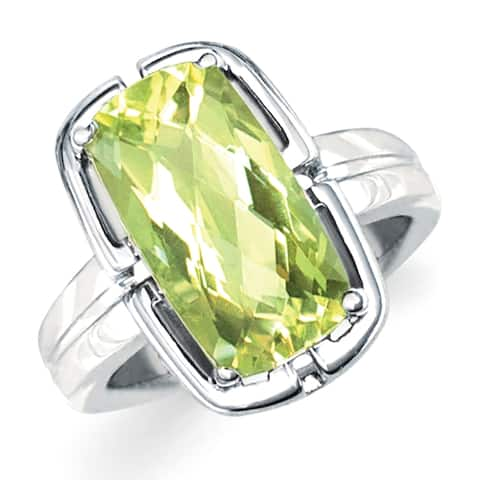 Sterling Silver Square Lemon Quartz Gemstone Ring