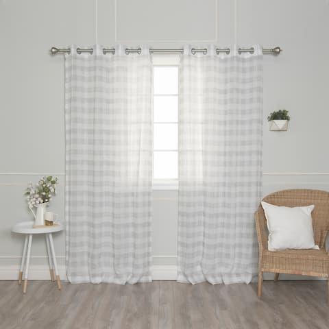 "Aurora Home Faux Linen Watercolor Check Curtain Panel Pair - 52""W x 84""L - 52""W x 84""L"