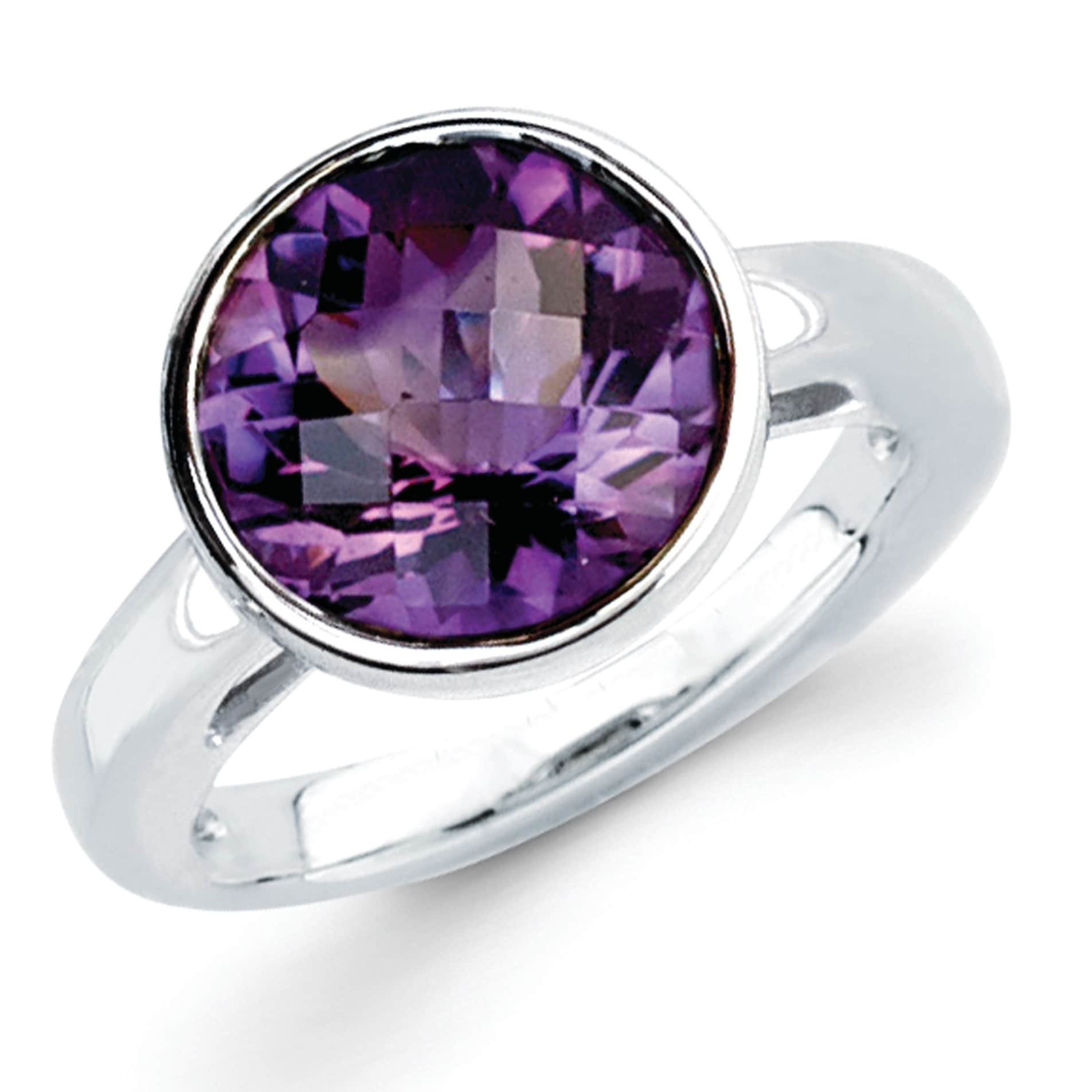 Amethyst Purple Gems Silver Ring Handcrafted 925 Sterling Silver Captivating Genuine Purple Ring