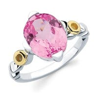 Sterling Silver with 18k Gold Accent Oval Pink Sapphire Gemstone Ring