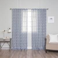 Aurora Home Faux Linen Modern Geometric Curtain Panel Pair