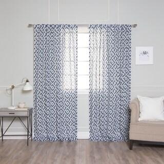 Aurora Home Faux Linen Modern Geometric Curtain Panels (Set of 2)
