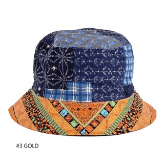 Fashion Packable Reversible Black Printed Fisherman Bucket Sun Hat, Many Patterns (Option: Gold)
