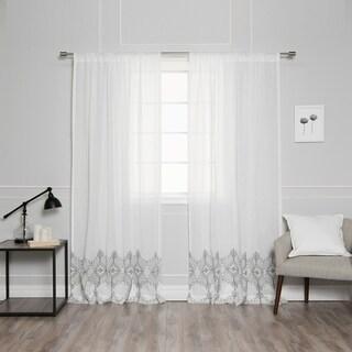Aurora Home Faux Linen Boho Border Curtain Panels (Set of 2)