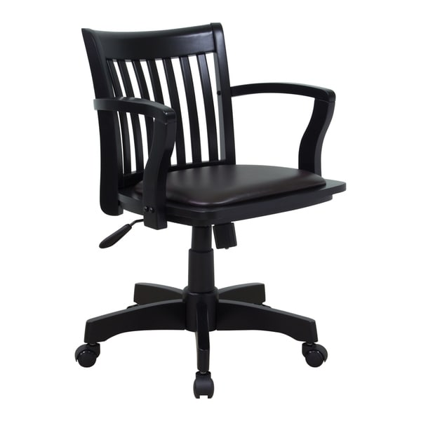 Delicieux Deluxe Wood Bankers Chair With Vinyl Padded Espresso Seat And Black Frame