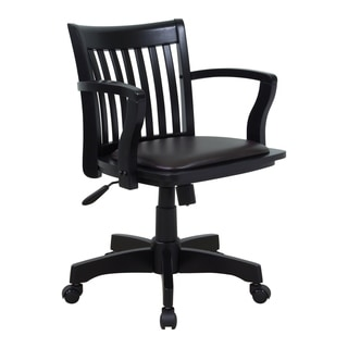 Delightful Deluxe Wood Bankers Chair With Vinyl Padded Espresso Seat And Black Frame