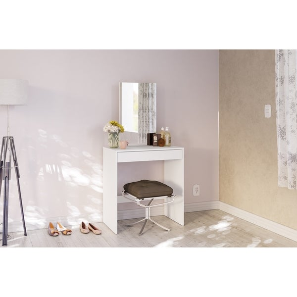 Polifurniture Kansas Vanity with Mirror, White. Opens flyout.