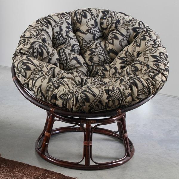 International Caravan Bali 42 Inch Papasan Chair With Tapestry Cushion