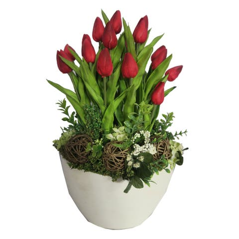 20 Red Tulips with White Centerpiece