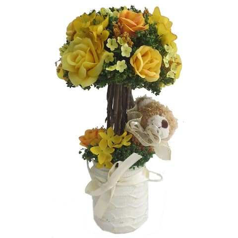 Yellow Rose Centerpiece with Teddy in Ceramic Container