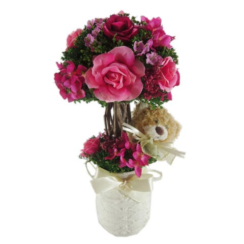 Red Rose Centerpiece with Teddy in Ceramic Container