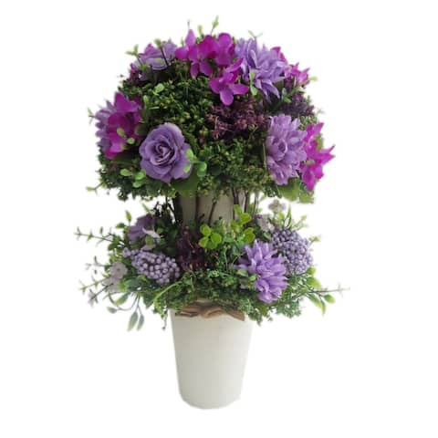Mums with Lavender Rose in Ceramic Centerpiece