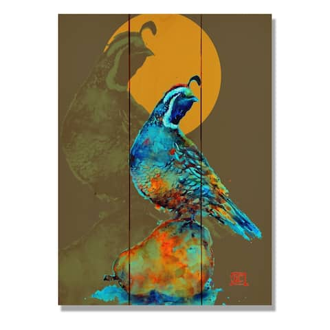 Crouser's Neon Quail & Pear - 11x15 Indoor/Outdoor Wall Art - Multi-color