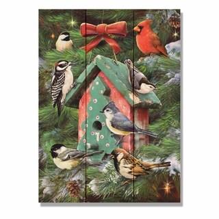 Giordano's Birdhouse & Pines - 11x15 Indoor/Outdoor Cedar Wall Art - Multi-color