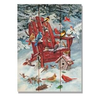 Giordano's Birds On Winter Chair - 11x15 Indoor/Outdoor Cedar Wall Art - Multi-color