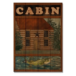 Cabin & Fish - 14x20 Indoor/Outdoor Wall Art - Multi-color