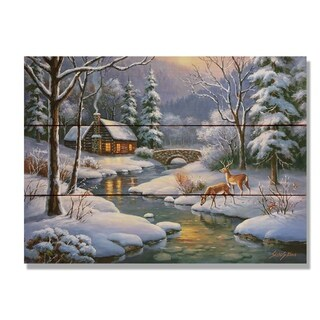 Kim's Winter Deer - 15x11 Indoor/Outdoor Wall Art - Multi-color