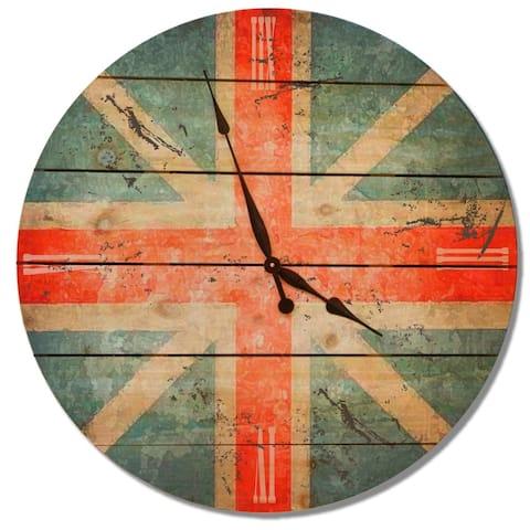 "British Flag Clock 30"" - Cedar Wall Clock - Multi-color"