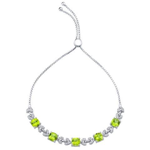 Sterling Silver Peridot Cushion Cut Halo Adjustable Bracelet 5.25 Carats Total - Green