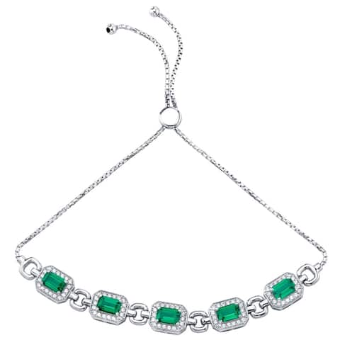 Sterling Silver Simulated Emerald Adjustable Friendship Bracelet 3.00 Carats Total - Green