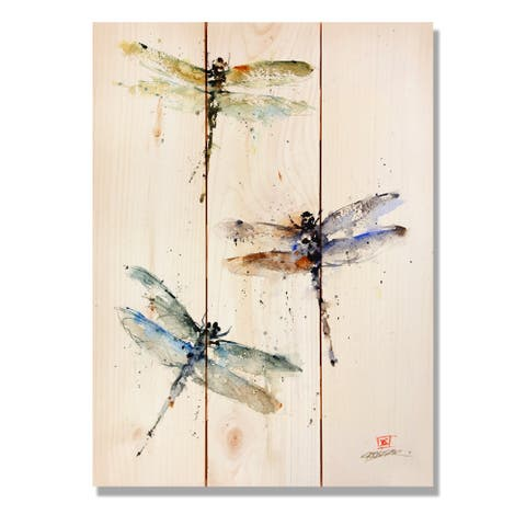 Three Dragonflies - 11x15 Indoor/Outdoor Wall Art - Multi-color