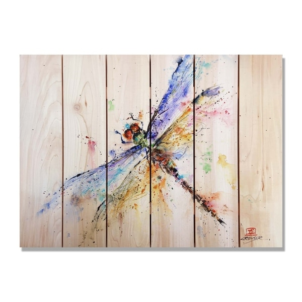 Crouser S Pond Dragonfly 33x24 Indoor Outdoor Cedar Wall Art Multi Color