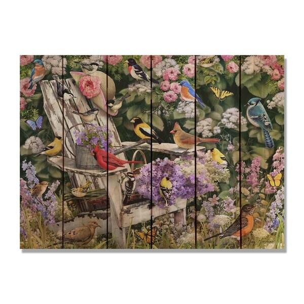 Giordano's Birds On Spring Chair - 33x24 Indoor/Outdoor Cedar Wall Art - Multi-color