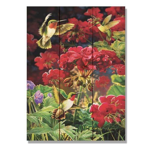 Giordano's Hummingbird & Geranium - 11x15 Indoor/Outdoor Wall Art - Multi-color