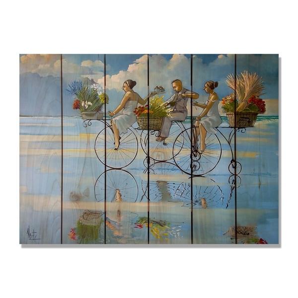 West S Big Wheel Beach 33x24 Indoor Outdoor Cedar Wall Art Multi Color