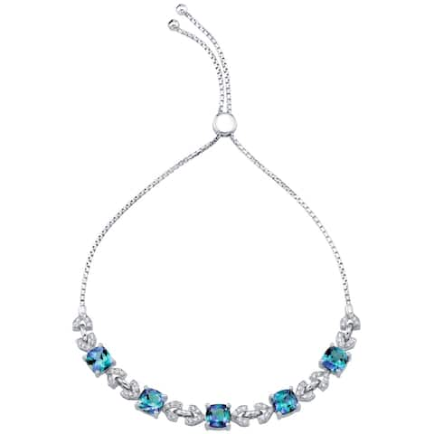 Sterling Silver Simulated Alexandrite Cushion Cut Halo Adjustable Bracelet 6.50 Carats Total - multi-color