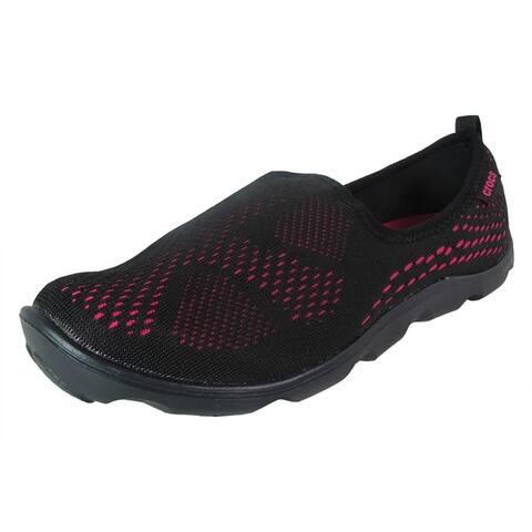 Crocs Women Duet Busy Day Xpress Mesh Skimmer Shoes Black/Candy Pink