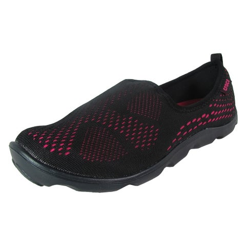 Crocs Women Duet Busy Day Xpress Mesh Skimmer Shoes, Black/Candy Pink