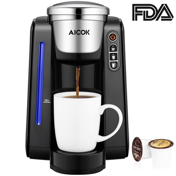 Aicok Single Serve Programmable Coffee Maker Five Brew Sizes For Most Cup Pods Including