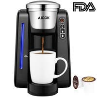 Aicok Single Serve Programmable Coffee Maker, Five Brew Sizes for Most Single Cup Pods Including K-CUP