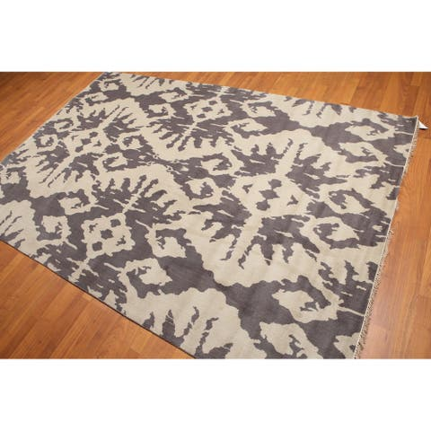 Contemporary Abstract Print Oriental Area Rug - 6' x 9'